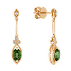 Oval Green Sapphire and Diamond Earrings