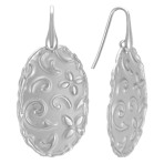 Patterned Oval Sterling Silver Earrings