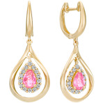 Pear-Shaped Pink Sapphire and Round Diamond Dangle Earrings