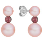 Red Velvet 5.5-8mm Pink Cultured Freshwater Pearl and Garnet Sterling Silver Earrings