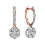 Round Diamond Cluster Earrings in 14k Rose Gold