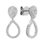 Round Diamond Cluster Multiple Look Teardrop Earrings