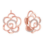 Round Diamond Flower Leverback Earrings in Rose Gold