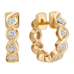 Round Diamond Hoop Earrings with Bezel Setting