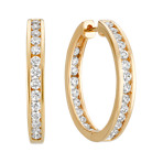 Round Diamond Hoop Earrings with Channel-Setting in 14k Yellow Gold