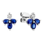 Round Diamond, Oval and Pear-Shaped Traditional Sapphire Angel Earrings