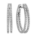Round Diamond Split Hoop Earrings in 14k White Gold
