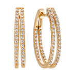 Round Diamond Split Hoop Earrings in 14k Yellow Gold