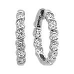 Round Diamond Swirl Hoop Earrings