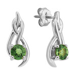 Round Green Sapphire Earrings