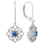 Round Kentucky Blue Sapphire and Sterling Silver Dangle Earrings
