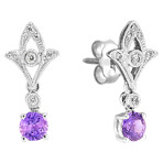 Round Lavender Sapphire and Diamond Earrings