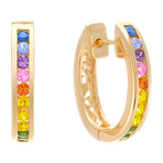 Round Multi-Color Sapphire Hoop Earrings