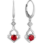 Round Ruby and Diamond Dangle Earrings