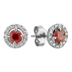 Round Ruby and Diamond Earrings in 14k White Gold