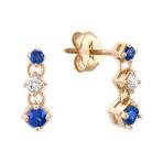 Round Sapphire and Diamond Three-Stone Earrings