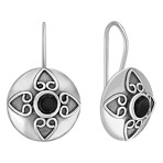Sterling Silver and Black Agate Earrings