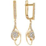 Swirl Diamond Cluster Earrings in 14k Yellow Gold