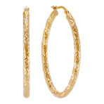 Textured 14k Yellow Gold Hoop Earrings