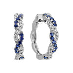 Twist Hoop Earrings with Round Traditional Sapphire and Diamond Accent