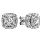 Two-Tier Cluster Diamond Earrings in 14k White Gold