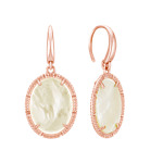 Mother of Pearl Vintage Oval Earrings in Rose Sterling Silver