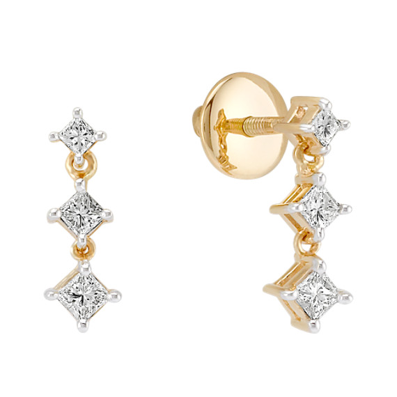 1/3 c.t. t.w. Princess Cut Diamond Three-Stone Earrings