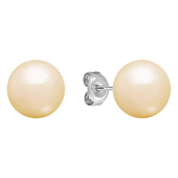10mm Cultured Golden South Sea Pearl Solitaire Earrings