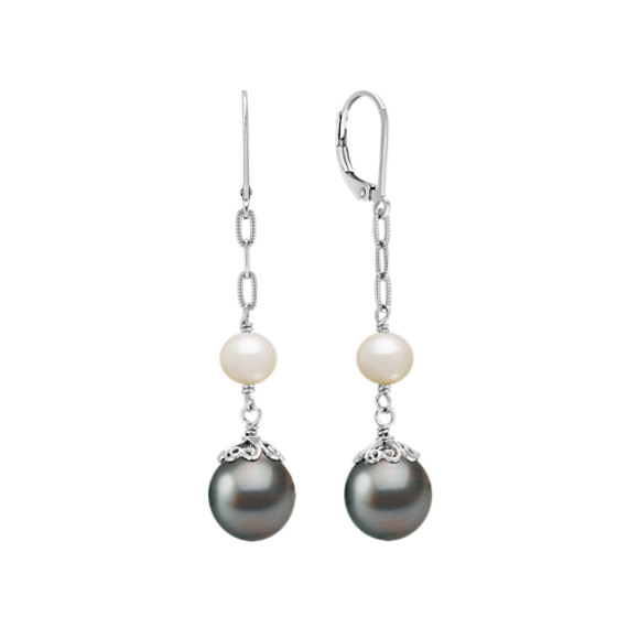 10mm Cultured Tahitian Pearl and 6mm Cultured Freshwater Pearl Dangle Earrings in Sterling Silver