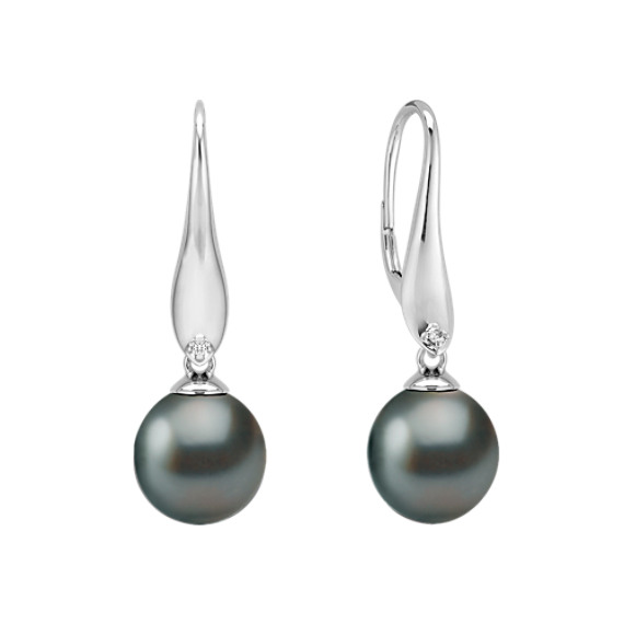 10mm Cultured Tahitian Pearl and Diamond Earrings