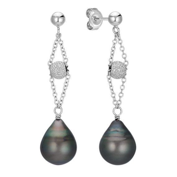 10mm Cultured Tahitian Pearl Dangle Earrings in Sterling Silver