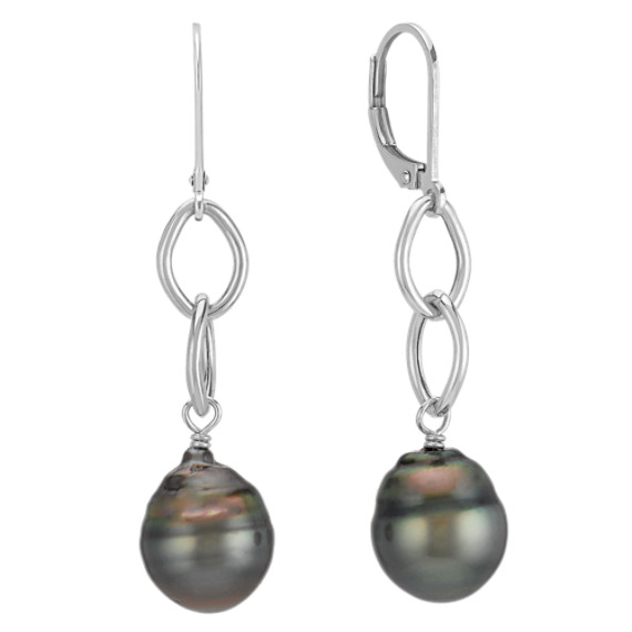 10mm Cultured Tahitian Pearl Leverback Earrings
