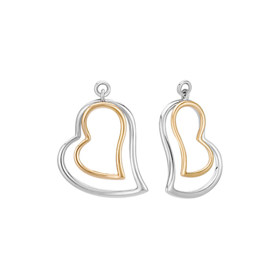 14k Two-Tone Gold Heart Earring Jackets