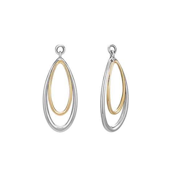 14k Two-Tone Gold Teardrop Dangle Earring Jackets
