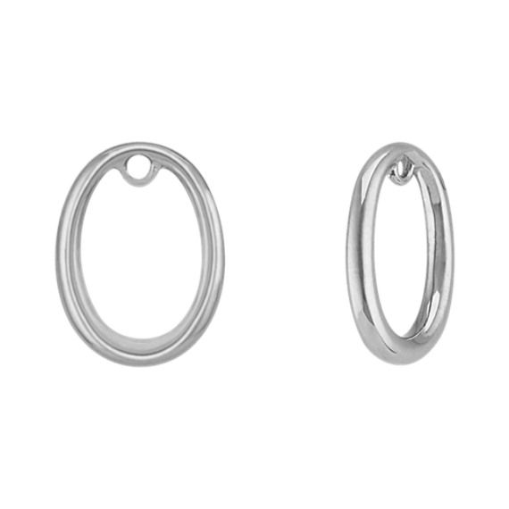 14k White Gold Circle Earring Jackets
