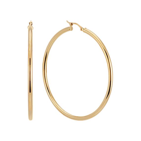 14k Yellow Gold 2 inch Hoop Earrings
