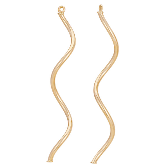 14k Yellow Gold Spiral Earring Jackets