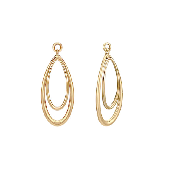 14k Yellow Gold Teardrop Dangle Earring Jacket