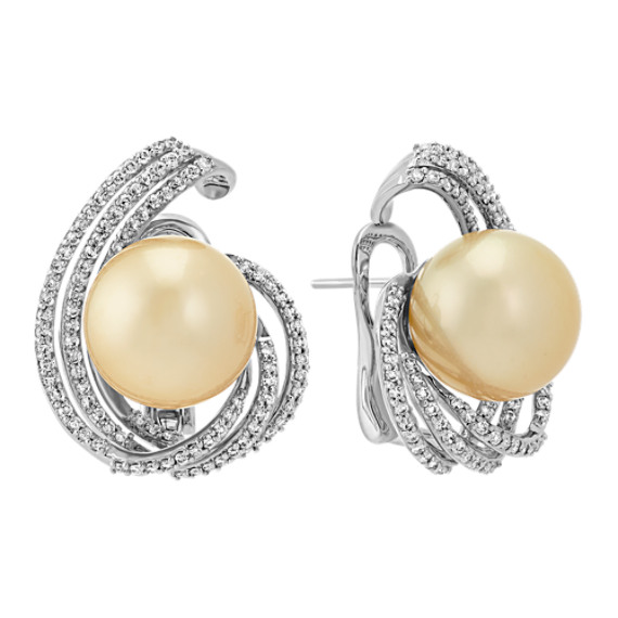 14mm Cultured Golden South Sea Pearl and Round Diamond Earrings