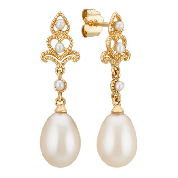 1.5-7.5mm Cultured Freshwater Pearl Dangle Earrings in 14k Yellow Gold