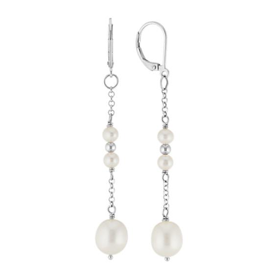 4-9mm Cultured Freshwater Pearl Dangle Leverback Sterling Silver Earrings