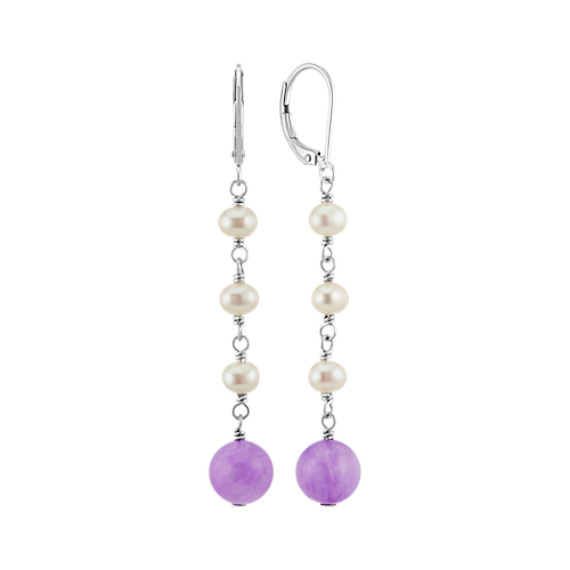 4mm Cultured Freshwater Pearl and 8mm Amethyst Leverback Earrings