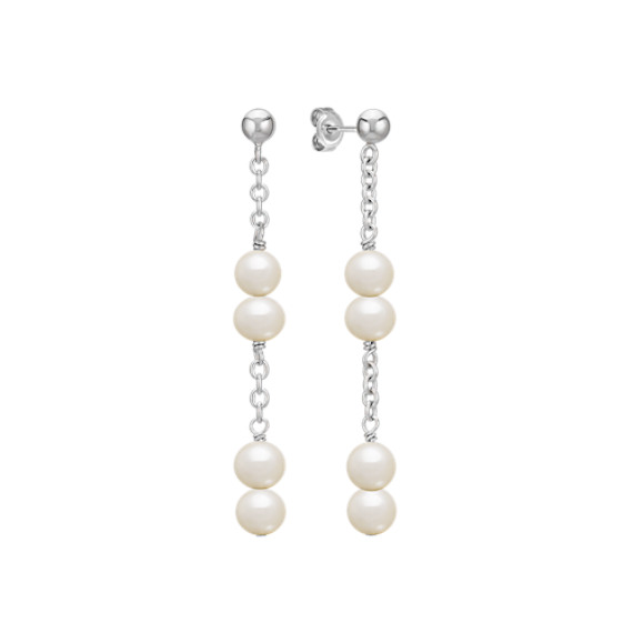 5-6mm Cultured Freshwater Pearl and Sterling Silver Dangle Earrings