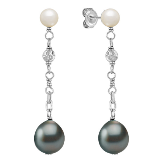 5.5-10mm Cultured Tahitian and Freshwater Pearl Earrings in Sterling Silver
