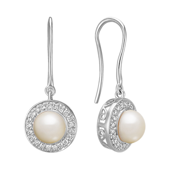 5.5mm Cultured Freshwater Pearl and Round Diamond Earrings