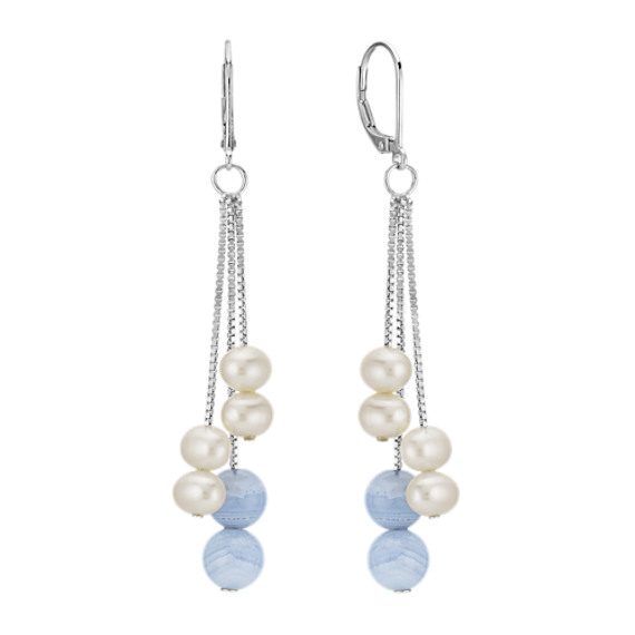 5mm Cultured Freshwater Pearl and Blue Lace Agate Dangle Earrings in Sterling Silver