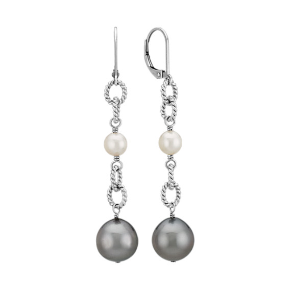 6-10mm Cultured Tahitian and Freshwater Pearl Earrings in Sterling Silver