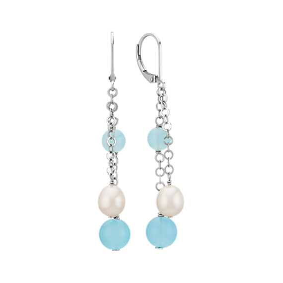 6-8mm Sea Blue Agate and Cultured Freshwater Pearl Earrings