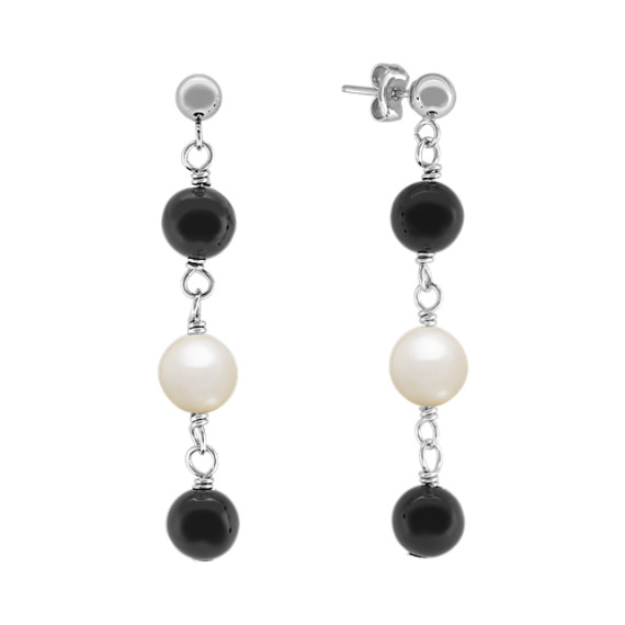 6.5mm Cultured Freshwater Pearl and Black Agate Earrings