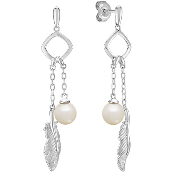 6.5mm Cultured Freshwater Pearl and Sterling Silver Feather Circle Earrings